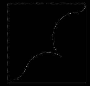 Illustration showing the cut line for the shelf brace